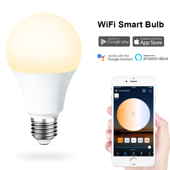 SS WFB CCT 6.5W smart A19 A60 A75 led bulb wifi color changing